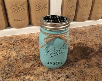 Mason Jar Toothbrush Holder, Toothbrush Holder, Mason Jar Decor, Mason Jar Bathroom Jar, Painted Mason Jars, Rustic Home Decor, Mason Jars
