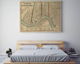 antique map new orleans etsy. Black Bedroom Furniture Sets. Home Design Ideas
