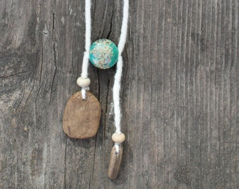 Bohemian felted drift wooden necklace with green beads, boho driftwood wooden hanger and felted necklace, birthday gift