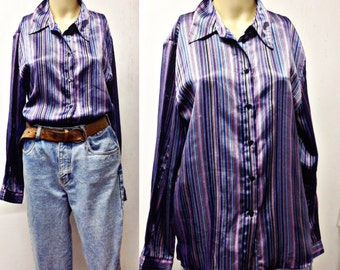 90's SHINING STRIPE FUnky Polyester button down blouse