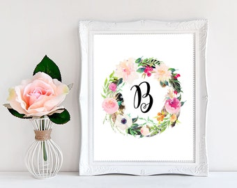 monogram wall letters name letters personalized gift for friend wall hanging letters printable wall art diy gift initial print poster