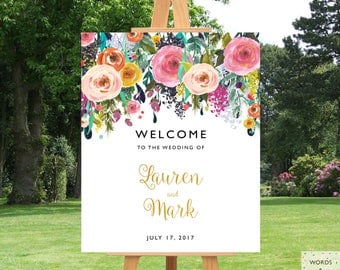 Wedding Signs Printable, Wedding Signs Welcome, Wedding Signage, Wedding Decor, Wedding Reception Signs, Custom, Personalized, Floral, Large