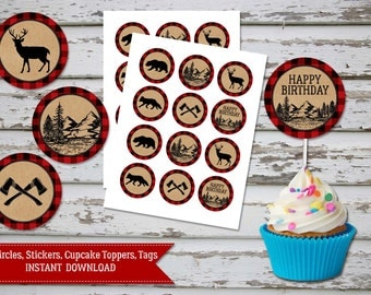 Lumberjack Cupcake Toppers, Red Plaid Lumberjack Birthday, Red Plaid Lumberjack 2in Circles, Plaid Lumberjack Favor Tags INSTANT DOWNLOAD