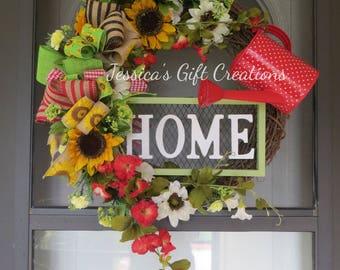 Made to Order Home Grapevine Wreath/Door Wreath/Sunflower Wreath/Spring/Summer/Everyday Wreath/Watering Can/Front Door/Garden/Twig Wreath