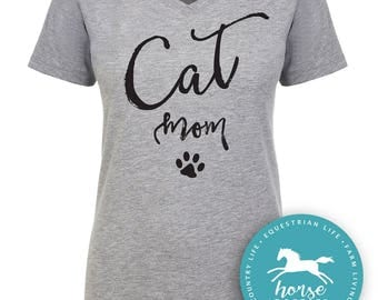 Cat Mom Script | Cat T Shirt | Feline | Cat Shirt | Women's Fitted V-Neck Tee | Fashion Fit | Soft |