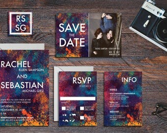 Colorful Wedding Invitation Suite - Printable Wedding Invitation Suite, DIY Wedding Invitation, Abstract Invitation, Artistic Wedding