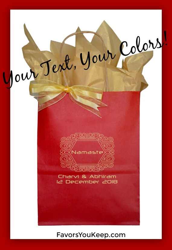 Red Wedding Gift Bags : Guest Gift Bag Red and Gold Wedding Guest Gift Bag Custom Welcome Bag ...