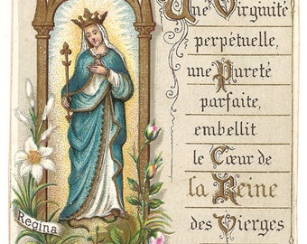 Virgin Mary Queen with Pink Roses Antique French Goldprint Catholic Holy Prayer Card