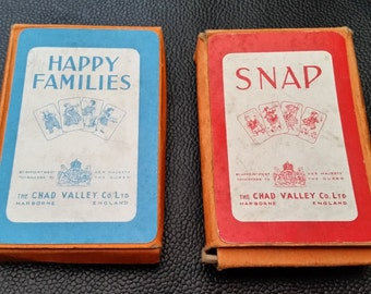 Two Very Good Vintage Chad Valley Card Games - Chad Valley Happy Families And Chad Valley Snap - Both Are Complete And In Original Boxes