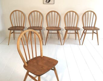 Beautiful Set of Six Ercol 1960s Vintage Retro Chairs - Fully Restored