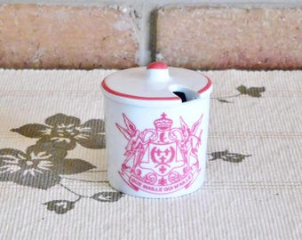 Que Maille Qui M'aille dijon vintage 1970s small white mustard pot with lid, kitchenalia