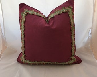 """20"""" Maroon Scalamandre Moire Watermark Feather Down Decorative Throw Pillow with Silk Trim"""