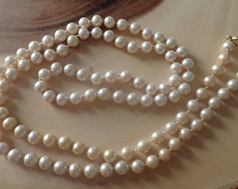 Vintage Cultured Pearl Long Necklace