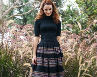 Vintage 1950's Black Wool Tea Length Skirt with Woven Coloful Stripes