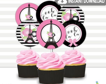 Paris Birthday Cupcake Toppers | Printable Cupcake Toppers | Party Circles | Eiffel Tower | INSTANT DOWNLOAD | Design 17005