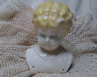 Vintage CERAMIC DOLL BUST, Hertwig Reproduction