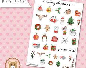 """Planners Stickers Noël """"Merry Christmas"""""""