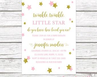 Twinkle Twinkle Little Star Baby Shower Invitation, Twinkle Twinkle Baby Shower, Pink and Gold Baby Shower Invitation, Girl Invite