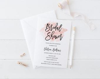 Bridal Shower Invitation, Watercolor Bridal Shower Invitation, Pink Bridal Shower Invitation, Wedding Shower Invitation, Printable Invite