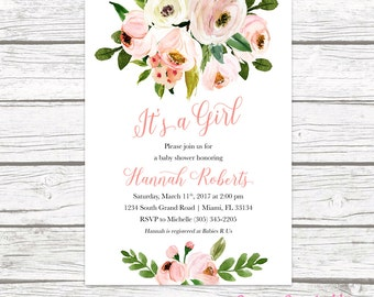 It's a Girl Baby Shower Invitation, Pink Floral Baby Shower Invitation, Garden Baby Shower Invite, Rustic Baby Shower, Printable Invitation