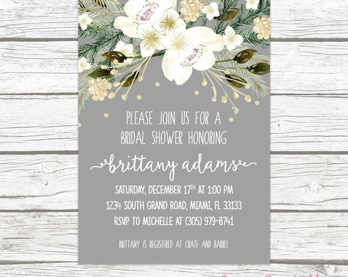 Christmas Bridal Shower Invitation, Winter Bridal Shower Invitation, Rustic Bridal Shower Invitation, White and Gold Holiday Invitation