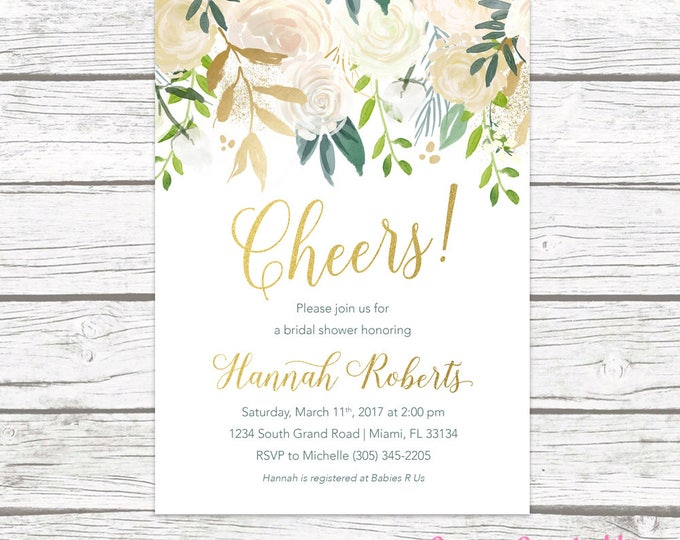 Bridal Shower Brunch Invitation, Cheers Bridal Shower Invitation, Bridal Brunch, White and Gold Invitation, Rustic Bridal Shower Invitation