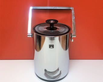 Mid Century Modern Chrome Everest Ice Bucket with Tongs