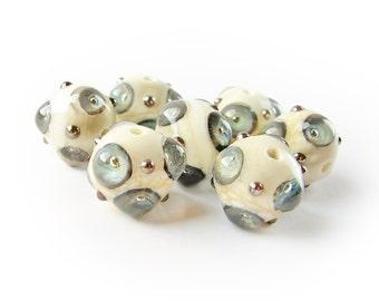 Lampwork Beads, Ivory Glass Beads, Lampwork Bead Set, Silver Glass Beads, Murano Beads, Organic Style, art beads, Dotted Beads