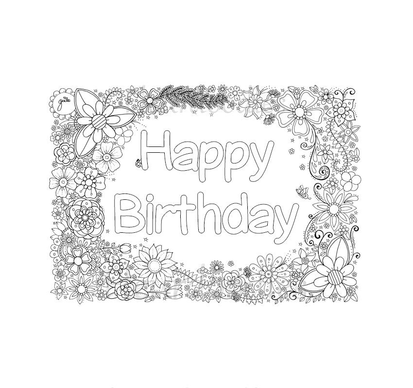 happy birthday ausmalseite zum ausdrucken glückwunsch
