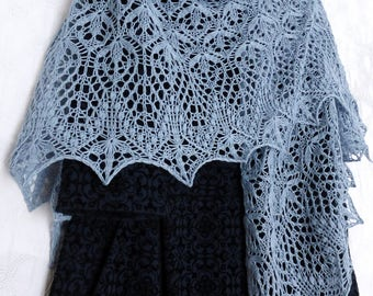 Flowers Lace Shawl. Made to Order! Hand Knitted Shawl. Openwork Shawl. Knit Triangular Shawl, Wool Shawl. Lace Wrap Scarf