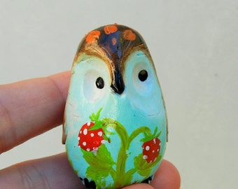 owl polymer clay collectible owl with strawberries