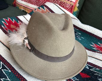 Vintage fedora hat, Geo W Bollmang & Co, doeskin wool felt hat, wool felt fedora hat