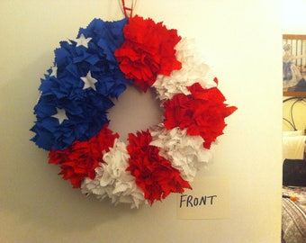 Handmade Red White & Blue Wreath - free shipping