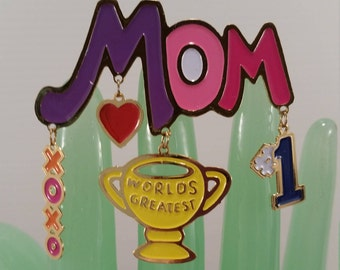 World's Greatest Mom Brooch, Mother's Day Pin, Colorful Greatest Mom Brooch, Vintage World's Greatest Mom Number One XOXO Brooch