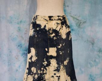 50%off SALE[42.36] Bleached Denim Mini-skirt; Shibori Denim Skirt; Denim Mini Skirt; Bleached Denim Skirt