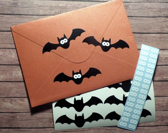 30 Bat stickers, bat decals, Halloween stickers, bat envelope seals, removable wallpaper, bats with eyes