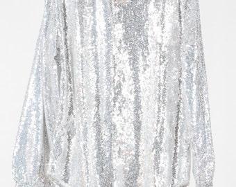 Men's silver sequin shirt