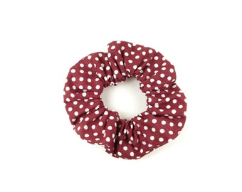 Scrunchie 100 % cotton  - red wine, burgundy dotted white