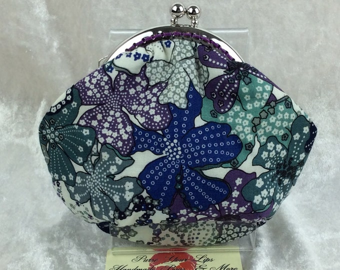 Flowers Amy frame coin purse wallet Mauvey hand stitched handmade in England