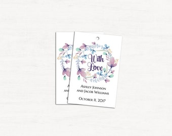 Floral wedding tags template Flowers gift tags printable Romantic invitation tags With love Favor tags editable Instant download 1W135