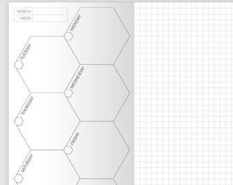 Hexagon Boxes + Grid  Weekly - Wo1P - Midori Printable Traveler's Notebook - Standard Size - Planner Printable Insert - Undated