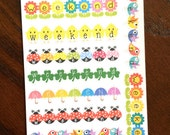 Spring Weekend Planner Stickers - Spring Stickers - Weekend Banner Planner Stickers - Bird Stickers - Flower Stickers - Monthly Stickers
