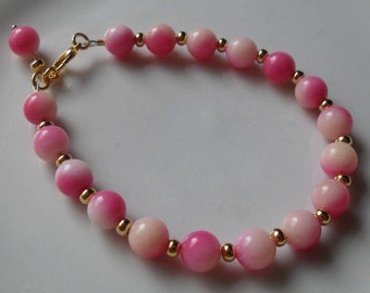 Handcrafted Dyed Pink Shell Bracelet