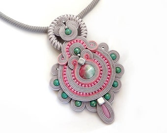 Soutache pastel necklace, soutache OOAK, Pink Necklace, Gray soutache, Jadeit Necklace, Gift for her, Gemstone Necklace, Unique Necklace