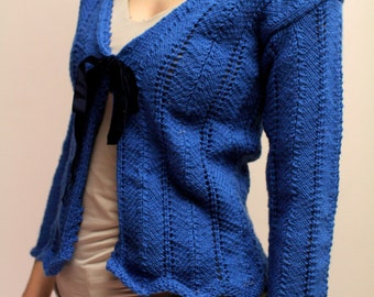 Vintage Blue Crochet Sweater with bow Hand Made Crochet Eu36
