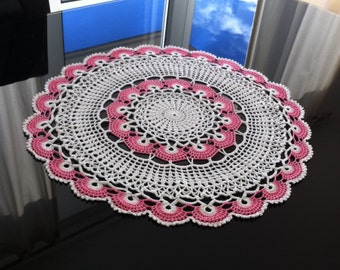 17 inches crochet doily pink white doily crocheted white doily table topper table centerpiece home decor lace doily 100% Cotton white lace