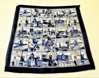 HOLLAND souvenir scarf, Delft blue, Vintage scarf, souvenir of Holland, Dutch Delft Scarf, 70s