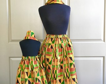 Mommy and Me Kente African Skirts, Headwraps, Mothers Day, Black History Month, African Clothing, Girls Clothing