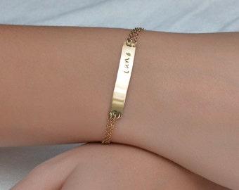 CUSTOM BAR BRACELET // Personalized Bracelet 14k Gold Filled - Initial Bar Bracelet - Monogram Bracelet - Name Bar Bracelet - Name Bracelet
