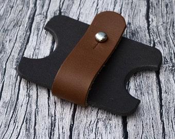 Leather Headphone Case // Leather Earphone Holder - Cable Holder - Cord Keeper - Earbud Holder - Leather Cord Organizer